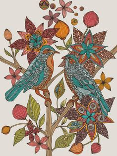 size: Stretched Canvas Print: Lovebirds by Valentina Ramos : Artists Using advanced technology, we print the image directly onto canvas, stretch it onto support bars, and finish it with hand-painted edges and a protective coating. Bird Prints, Flower Prints, Flower Art, Animal Print Decor, Animal Graphic, Graphic Art, Thing 1, Naive Art, Cute Birds