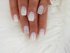 Beautiful delicate nails Bright gel polish brilliant nails Christmas nails Festive nails January nails Winter nails with sequins Cute Nails, Pretty Nails, My Nails, Polish Nails, Oval Nails, Shellac Nails, Nail Manicure, Bridal Nail Art, Bridal Toe Nails
