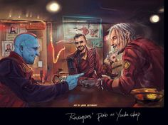 """trickster-in-space: """" Ravager's pub that's my oc back there(just ignore him lol,he's a bartender) inspirated by a photo of sons of anarchy """" Marvel Fan Art, Marvel Dc Comics, Marvel Avengers, Gi Joe, Gardens Of The Galaxy, Yondu Udonta, Show Me A Hero, Superwholock, Marvel Movies"""