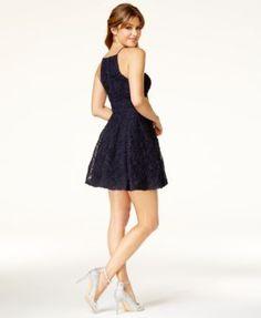 Trixxi Juniors' Embellished Soutache Fit & Flare Dress - Blue 11