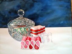 still life, glass bowl and ribbon candies, watercolor painting ... the detail in the glass is simply utterly amazing! even with the reflections of the colored candy, so well crafted, and with watercolor no less.