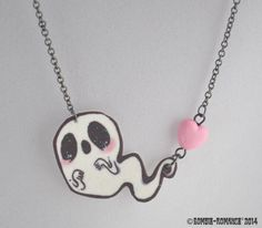 Ghostly Hearts Necklace by ZombieRomance on Etsy, $15.00