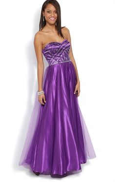 Strapless Long Prom Dress with Sequin Bodice and Satin Skirt