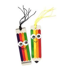 Tři nápady na barevné a veselé tvoření s dětmi - záložky do knížky, přívěšek na klíče a rámeček na fotku. | Davona výtvarné návody Creative Bookmarks, Bookmarks Kids, Art N Craft, Craft Stick Crafts, Diy Arts And Crafts, Handmade Crafts, Circus Crafts, Art For Kids, Crafts For Kids