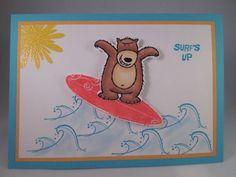 Handmade-Card-SURFS-UP-Surfing-Bear-Stampin-up-Boys-Kids-Teen-Masculine-5x7