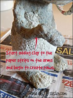 Part 2 - How To Make An Adorable Papier-Mâché Bunny - My Humble Home and Garden Paper Mache Crafts For Kids, Paper Mache Diy, Paper Mache Sculpture, Paper Clay, Paper Mache Animals, Paper Strips, How To Make Paper, Easter Crafts, Easter Ideas