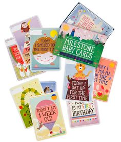Milestone Baby Cards. I didn't keep a baby journal, and wish I had these instead! Favorite baby gift to give. (Available at Mortimer Snodgrass shop online.)