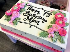 Sheet cake with flowers Square Birthday Cake, 75 Birthday Cake, Happy 75th Birthday, Birthday Sheet Cakes, Bolo Floral, Floral Cake, Cupcakes, Cupcake Cakes, Bolo Minecraft
