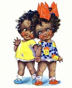 African American Children in Vintage Art..