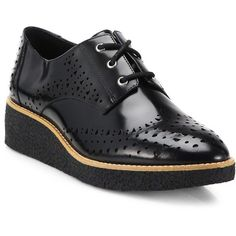 Rebecca Minkoff Pandora Leather Wedge Oxfords (385 NZD) ❤ liked on Polyvore featuring shoes, oxfords, flats, apparel & accessories, black, oxford flats, black leather flats, black flat shoes, leather flats and black shoes