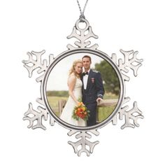 Custom Wedding Photo Snowflake Ornament