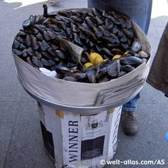 Stuffed mussels, ready for consumption, typical Istanbul street food