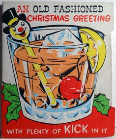 1950s Snowman Straw in Cocktail Glass Vintage Christmas Card