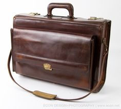 VINTAGE OLEG CASSINI BROWN LEATHER ATTACHE CASE EXECUTIVE ...