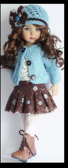 Handknit sweater and skirt set made for Effner little darling dolls. .