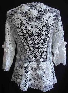 Maria Niforos - Fine Antique Lace, Linens & Textiles : Antique & Vintage Clothing # CL-30 Exquisite Irish Crochet Jacket