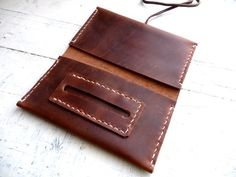 Tobacco Pouch Hand Stitched Brown Leather Pull-up by InkitLeathers