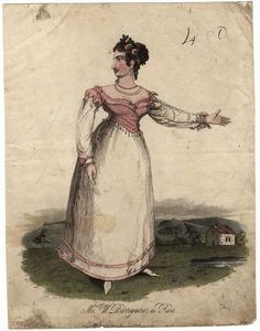 Ann Barrymore (née Adams) as Rosa  by 'P.R.', published by Hodgson & Co  hand-coloured stipple engraving, published 1822.