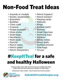 Non food treat ideas for Halloween. #foodallergy #keepitteal