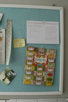 Re-cover and paint a regular, brown, store-bought bulletin board to suit your decor.