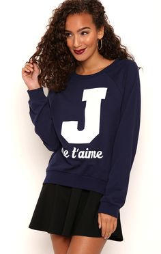 Deb Shops High Low French Terry Top with Varsity Je Taime Screen $12.30