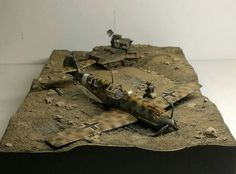 "1:72 ""Catching vultures in Libya"" airfix bf109 e trop. S model vickers mk IVB light tank"