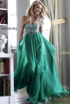 Emerald Green Strapless Beading Top Prom Dresses 2014 Sale