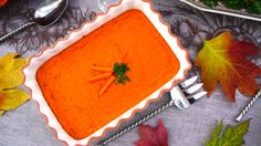 """Carrot Pudding is a delicious savory and sweet dish for any time of the year!  See our """"Healthier Thanksgiving"""" Dinner video for more great food and decorating ideas! http://www.youtube.com/watch?v=r_BXdggdgSI"""