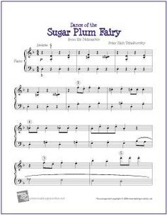 Dance of the Sugar Plum Fairy (Tchaikovsky) |  Sheet Music for Easy Piano - http://makingmusicfun.net/htm/f_printit_free_printable_sheet_music/sugar-plum-fairy-piano.htm