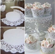 Beautiful DIY Fabric and Paper Doily Crafts MyKingList com Paper Doily Crafts, Doilies Crafts, Paper Doilies, Birthday Party Decorations, Wedding Decorations, Shabby Chic Banners, Home Crafts, Diy And Crafts, Craft Projects