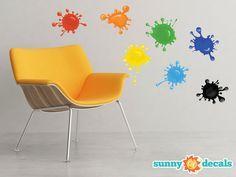 Paint Splatter Fabric Wall Decals - Set of 7 Ink Splotch Decals | Sunny Decals