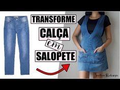 TRANSFORME CALÇA JEANS EM SALOPETE DE ALÇAS | DIY SALOPETE - YouTube