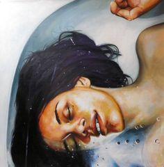"Saatchi Art Artist: Thomas Saliot; Oil 2015 Painting ""Close up bath"""