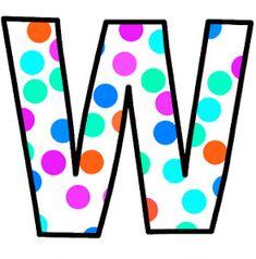 ArtbyJean - Paper Crafts: Alphabet Set - Polka Dots in bright magenta, shocking pink, blue, turquoise, aqua, and orange. Polka Dot Letters, Bubble Letters, Polka Dots, Magenta, Aqua, Turquoise, Pink Blue, Letter Symbols, Letter W