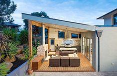 New backyard design layout outdoor living ceilings ideas Backyard Kitchen, Outdoor Kitchen Design, Backyard Patio, Backyard Landscaping, Backyard Shade, Landscaping Ideas, Outdoor Living Areas, Outdoor Rooms, Indoor Outdoor