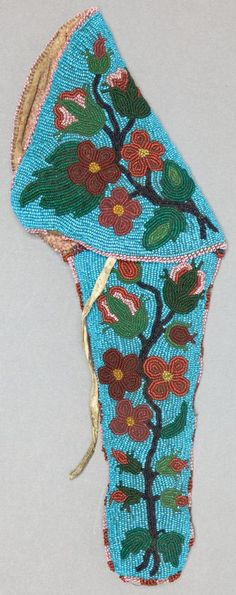 A Cree tribe pistol holster? Made of beaded hide, circa 1890 (Victorian era, for time referemce). American indian native First Peoples.