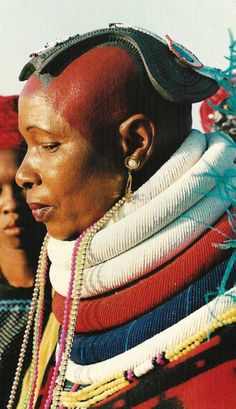 "Africa | Portrait of a Bakopa woman. South Africa | Scan of photograph by Peter Magubane on page 89 of the publication ""African Heritage ~ Arts & Crafts"""