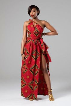 African Print Red Multiway Infinity Maxi Dress - Cordelia - Women's style: Patterns of sustainability African American Fashion, African Inspired Fashion, African Print Fashion, Africa Fashion, Fashion Prints, African Prints, African Maxi Dresses, African Attire, African Wear