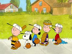 Charlie Brown wit his Baseball team...