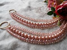 SET OF 2 Pink and gold Bohemian crystals tiebacks, pink faux pearls decorative curtain tiebacks with crystals : SET OF 2 Pink crystals glass pearls by MilanChicChandeliers Curtain Holder, Curtain Tie Backs, Cortinas Shabby Chic, Shabby Chic Curtains, Curtain Designs, Window Coverings, Drapes Curtains, Home Crafts, Pink And Gold