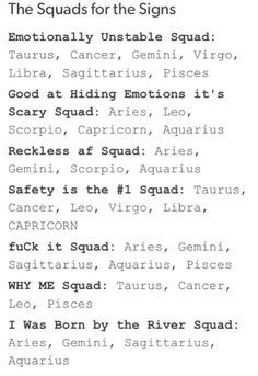 The squads for the signs. Leo, Good at hiding emotions it's scary squad; safety is the number one squad; Le Zodiac, Zodiac Signs Horoscope, Zodiac Posts, Zodiac Memes, Zodiac Capricorn, Zodiac Star Signs, Zodiac Sign Facts, My Zodiac Sign, Zodiac Quotes