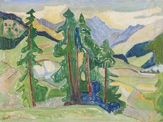 """Turo Pedretti (Swiss 1896-1964) Engadiner Landschaft (1948-49) oil on canvas 73.5 x 98 cm """