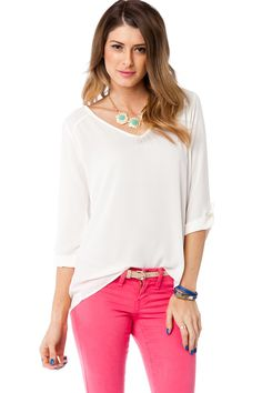 Lucette Blouse in Ivory / ShopSosie #blouse #ivory #tops #basic #shopsosie