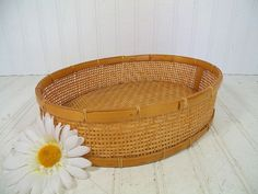 Vintage Natural Wicker Woven Oval Tray  Retro by DivineOrders, $11.00