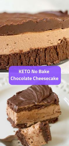 18 Easy & Delicious Keto Cake Recipes to Try No Bake Chocolate Cheesecake Low Carb Chocolate Cake, No Bake Chocolate Cheesecake, Chocolate Fudge Cake, Keto Cheesecake, Chocolate Recipes, Lemon Desserts, Low Carb Desserts, Dessert Recipes, Stevia