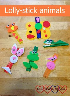 PIN OF THE WEEK:  CRAFTS Lolly-stick animals - Little Hearts, Big Love