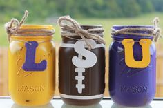 LSU Tigers Collegiate Football Painted/Distressed Mason Jars by PerfectlyCreatedForU on Etsy https://www.etsy.com/listing/204069677/lsu-tigers-collegiate-football