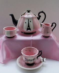 Paris inspired Tea Set  32 OZ Tea Pot by speeglecreations on Etsy, $94.00