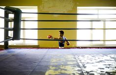 Mongolian Olympic boxer Tugstsogt Nyambayar prepares to train in a gym in Ulan Batur REUTERS