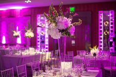 purple and silver wedding with high and low centerpieces